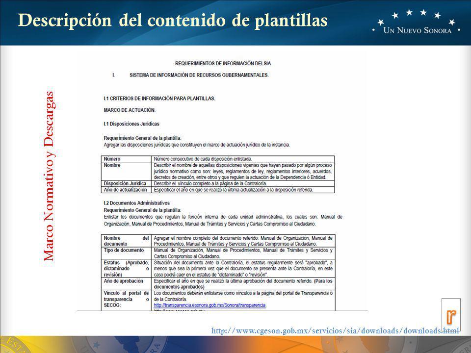 Descripción del contenido de plantillas Marco Normativo y Descargas http://www.cgeson.gob.mx/servicios/sia/downloads/downloads.html