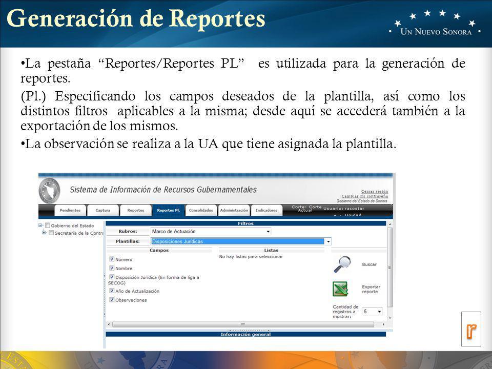 Generación de Reportes La pestaña Reportes/Reportes PL es utilizada para la generación de reportes.