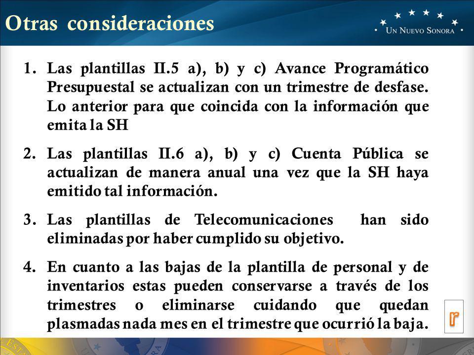 Otras consideraciones 1.Las plantillas II.5 a), b) y c) Avance Programático Presupuestal se actualizan con un trimestre de desfase.