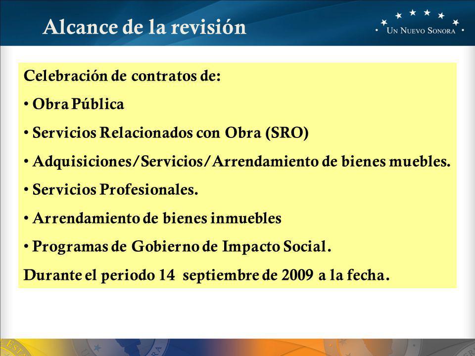 Alcance de la revisión Celebración de contratos de: Obra Pública Servicios Relacionados con Obra (SRO) Adquisiciones/Servicios/Arrendamiento de bienes muebles.