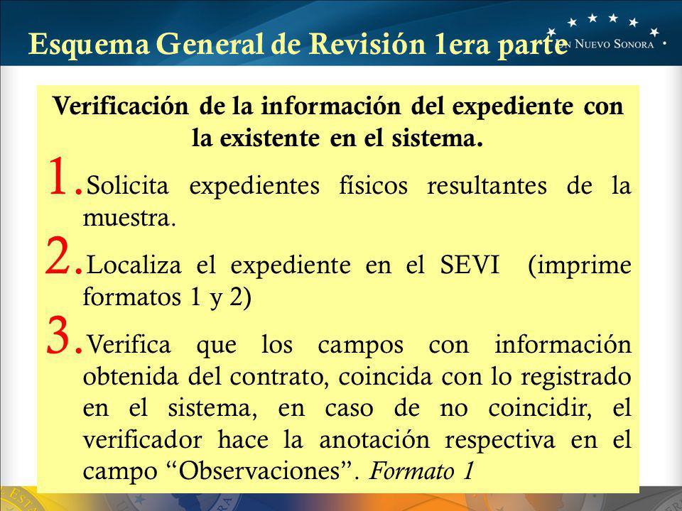 Verificación de la información del expediente con la existente en el sistema.