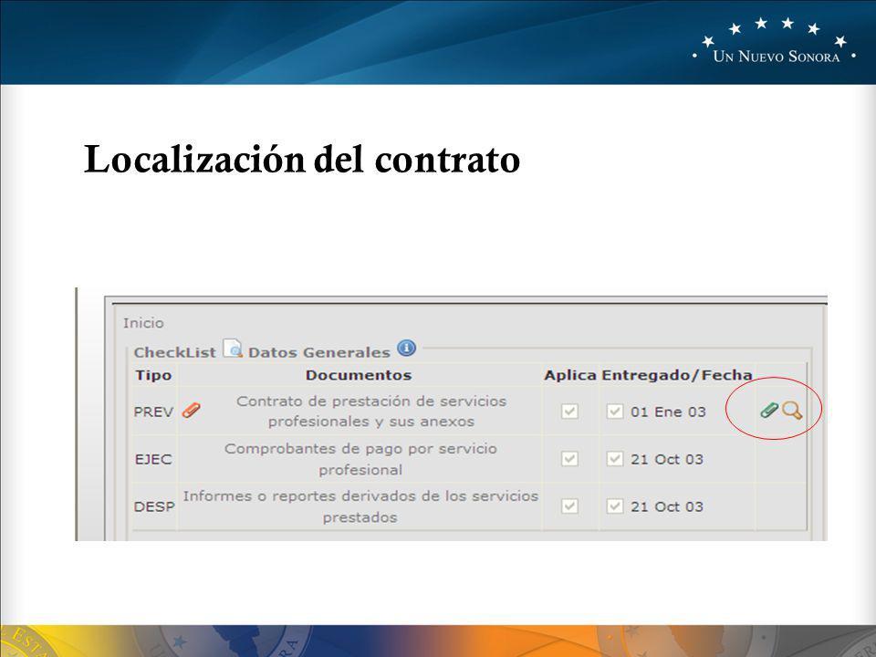 Localización del contrato