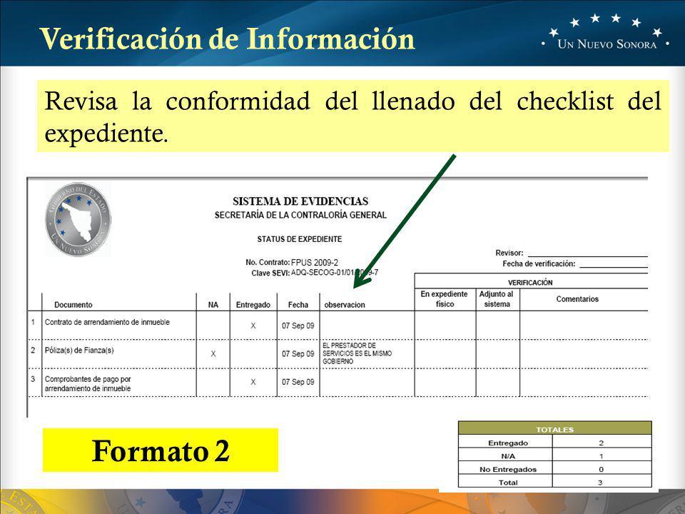 Revisa la conformidad del llenado del checklist del expediente.