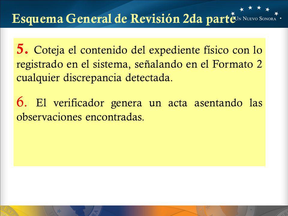 5. Coteja el contenido del expediente físico con lo registrado en el sistema, señalando en el Formato 2 cualquier discrepancia detectada. 6. El verifi