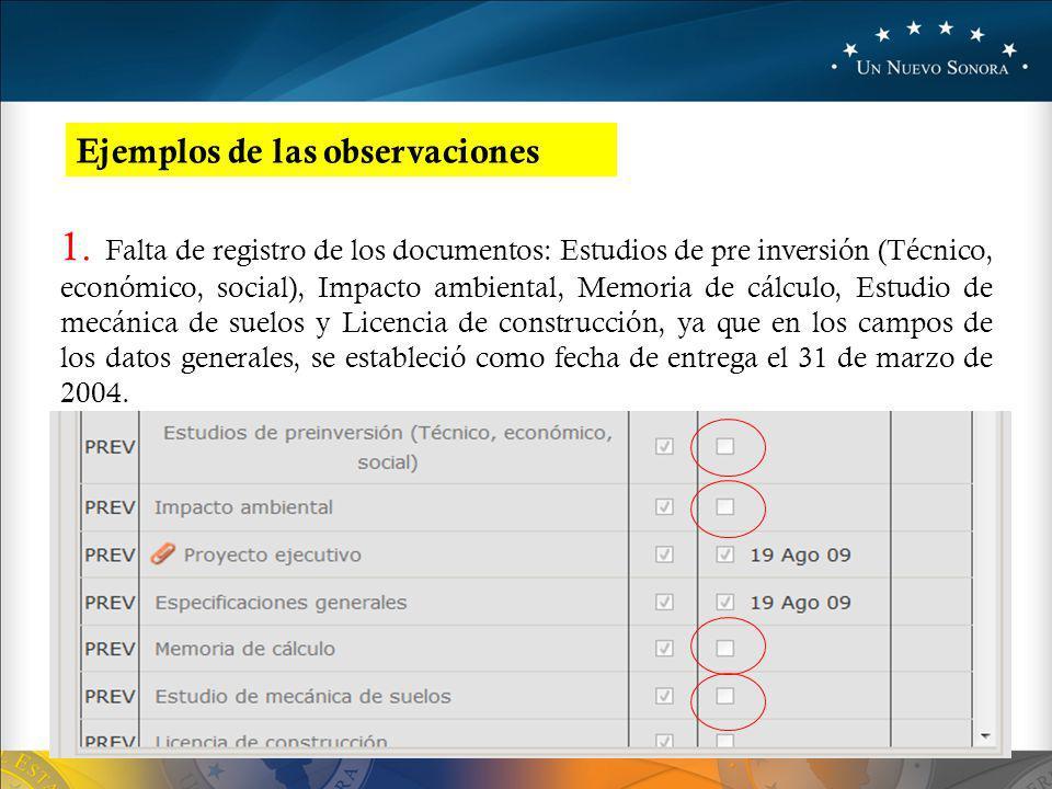Ejemplos de las observaciones 1.