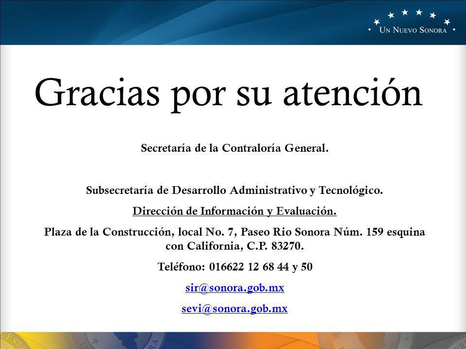 Gracias por su atención Secretaría de la Contraloría General.