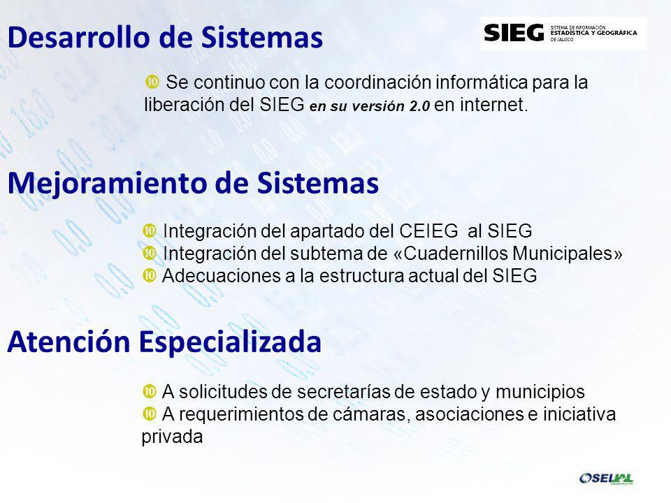 Se continuo con la coordinación informática para la liberación del SIEG en su versión 2.0 en internet.