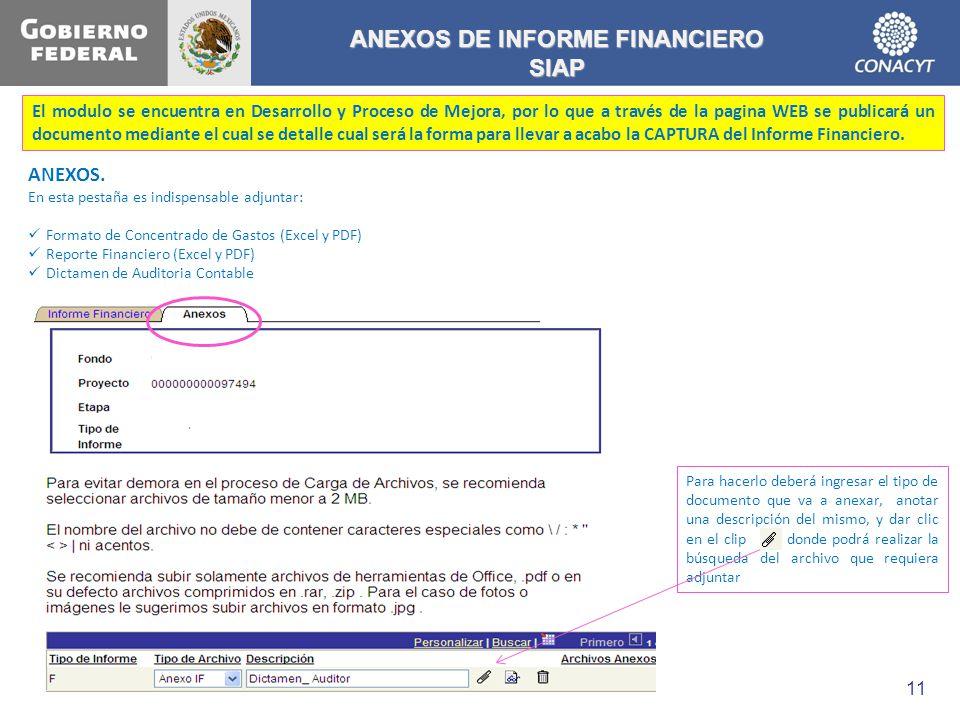 ANEXOS DE INFORME FINANCIERO SIAP El modulo se encuentra en Desarrollo y Proceso de Mejora, por lo que a través de la pagina WEB se publicará un docum