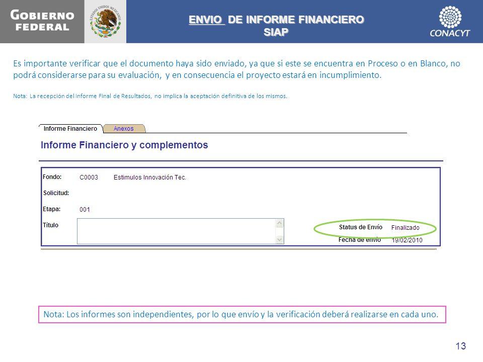 ENVIO DE INFORME FINANCIERO SIAP Es importante verificar que el documento haya sido enviado, ya que si este se encuentra en Proceso o en Blanco, no po