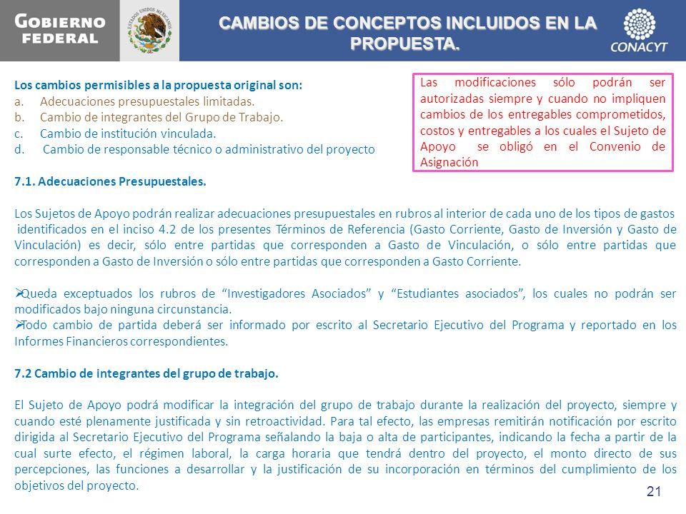 CAMBIOS DE CONCEPTOS INCLUIDOS EN LA PROPUESTA. CAMBIOS DE CONCEPTOS INCLUIDOS EN LA PROPUESTA. Los cambios permisibles a la propuesta original son: a