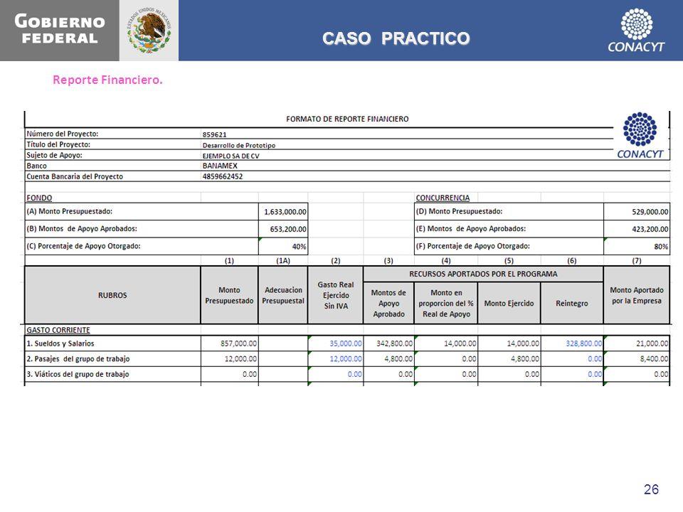 Reporte Financiero. CASO PRACTICO 26