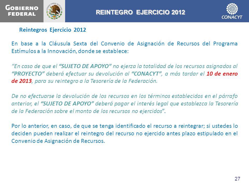 Reintegros Ejercicio 2012 REINTEGRO EJERCICIO 2012 En base a la Cláusula Sexta del Convenio de Asignación de Recursos del Programa Estímulos a la Inno