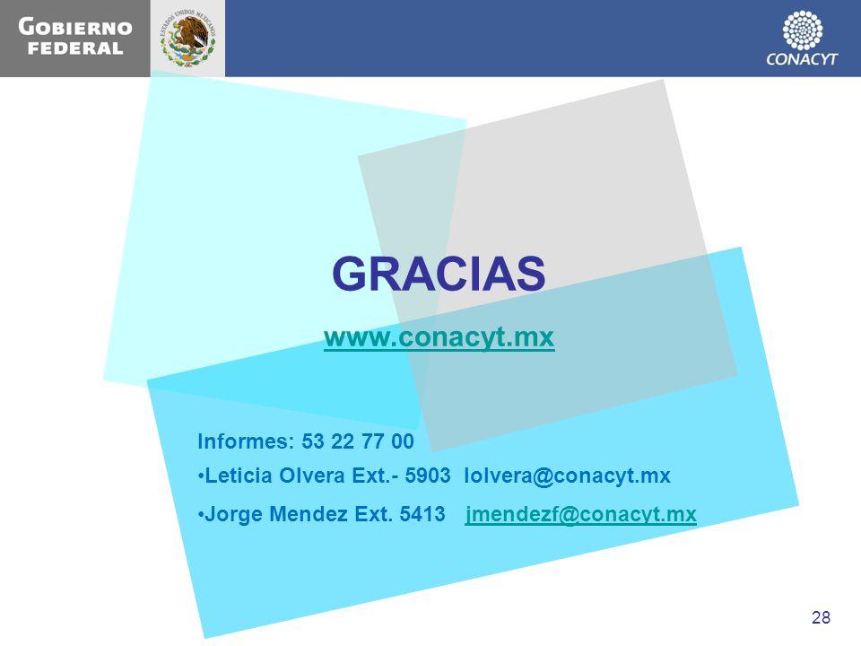 GRACIAS www.conacyt.mx Informes: 53 22 77 00 Leticia Olvera Ext.- 5903 lolvera@conacyt.mx Jorge Mendez Ext. 5413 jmendezf@conacyt.mxjmendezf@conacyt.m