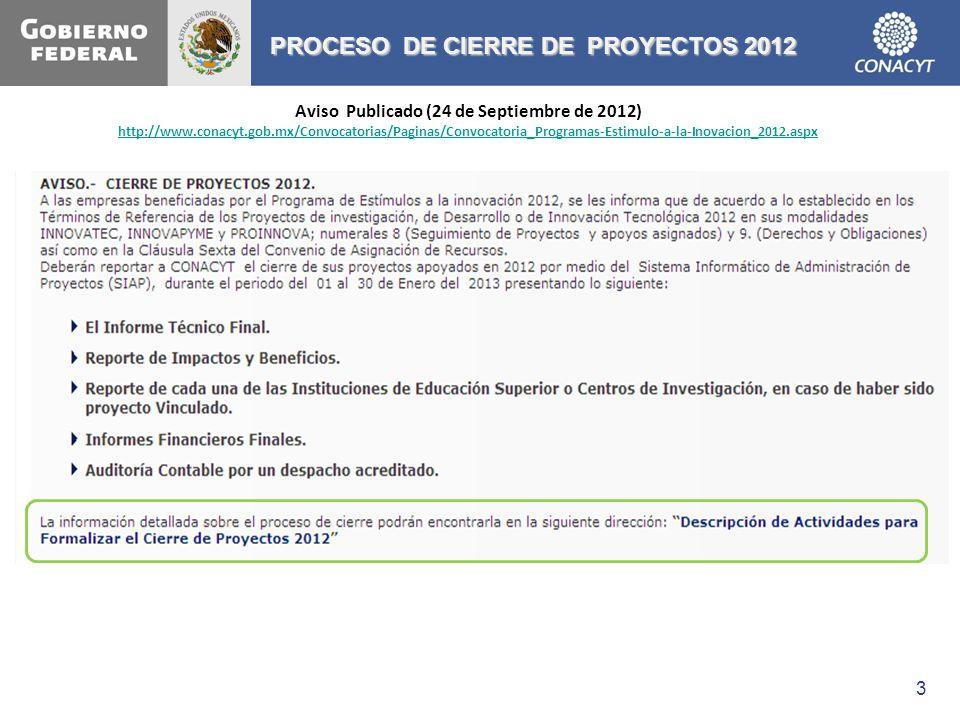 3 PROCESO DE CIERRE DE PROYECTOS 2012 Aviso Publicado (24 de Septiembre de 2012) http://www.conacyt.gob.mx/Convocatorias/Paginas/Convocatoria_Programa