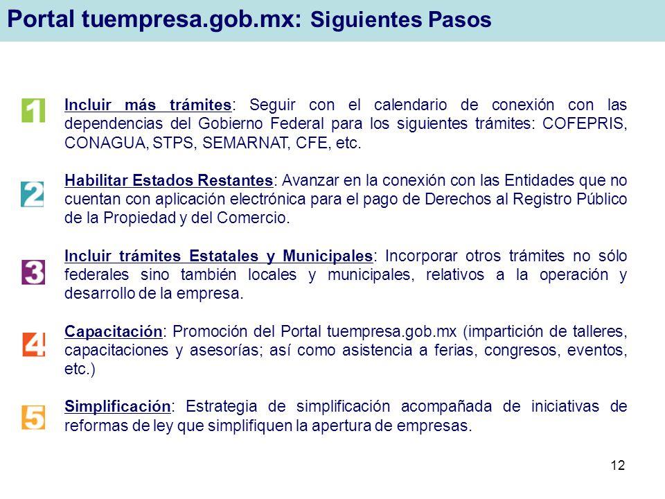 12 Incluir más trámites: Seguir con el calendario de conexión con las dependencias del Gobierno Federal para los siguientes trámites: COFEPRIS, CONAGU