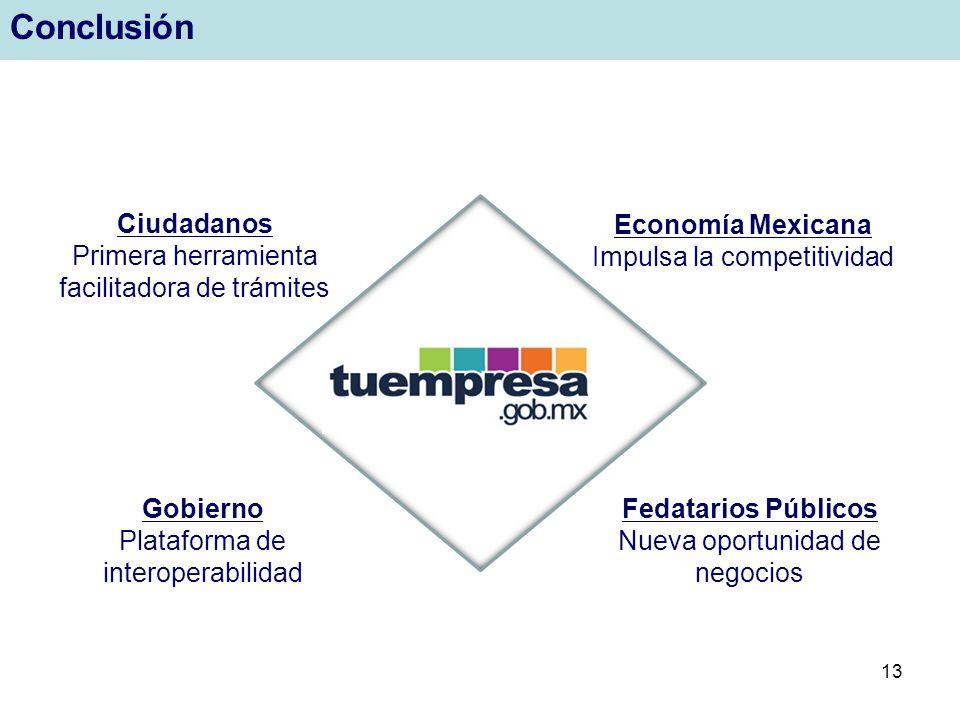 13 Conclusión Ciudadanos Primera herramienta facilitadora de trámites Economía Mexicana Impulsa la competitividad Gobierno Plataforma de interoperabil