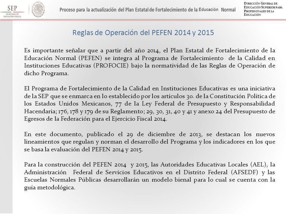 D IRECCIÓN G ENERAL DE E DUCACIÓN S UPERIOR PARA P ROFESIONALES DE LA E DUCACIÓN Educación Reglas de Operación del PEFEN 2014 y 2015 Es importante señalar que a partir del año 2014, el Plan Estatal de Fortalecimiento de la Educación Normal (PEFEN) se integra al Programa de Fortalecimiento de la Calidad en Instituciones Educativas (PROFOCIE) bajo la normatividad de las Reglas de Operación de dicho Programa.