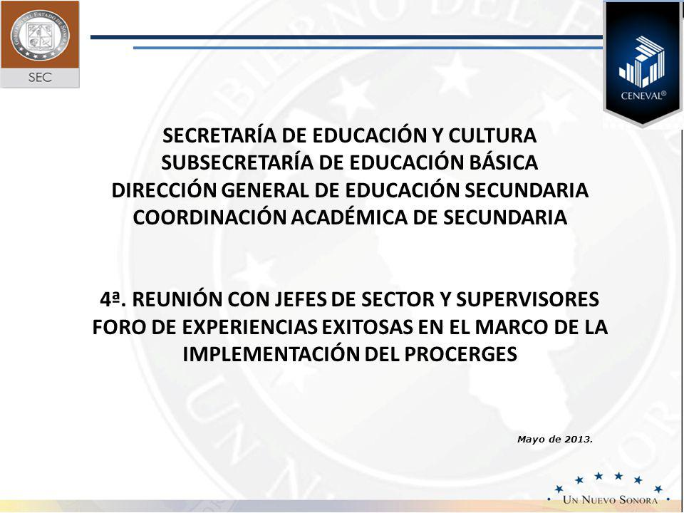 Mayo de 2013. SECRETARÍA DE EDUCACIÓN Y CULTURA SUBSECRETARÍA DE EDUCACIÓN BÁSICA DIRECCIÓN GENERAL DE EDUCACIÓN SECUNDARIA COORDINACIÓN ACADÉMICA DE