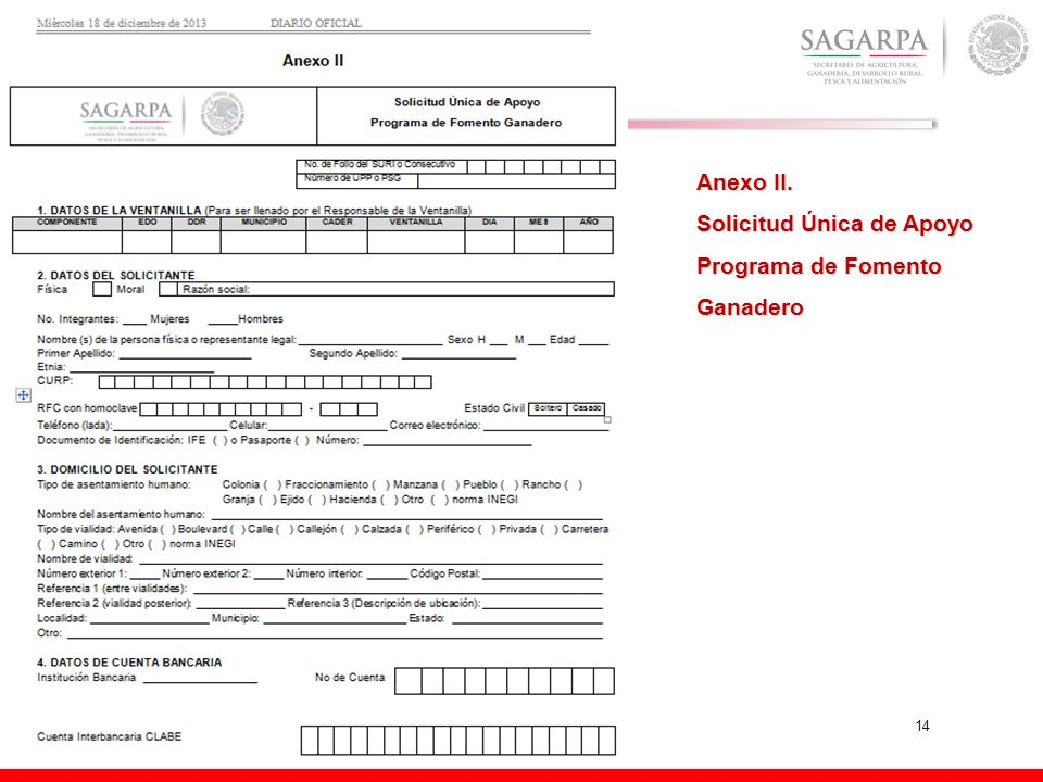 14 Anexo II. Solicitud Única de Apoyo Programa de Fomento Ganadero