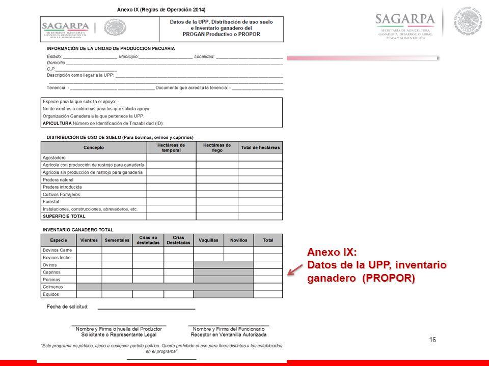 16 Anexo IX: Datos de la UPP, inventario ganadero (PROPOR)
