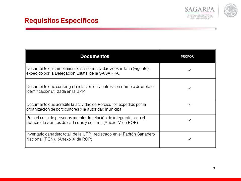 9 Requisitos Específicos Documentos PROPOR Documento de cumplimiento a la normatividad zoosanitaria (vigente), expedido por la Delegación Estatal de la SAGARPA.