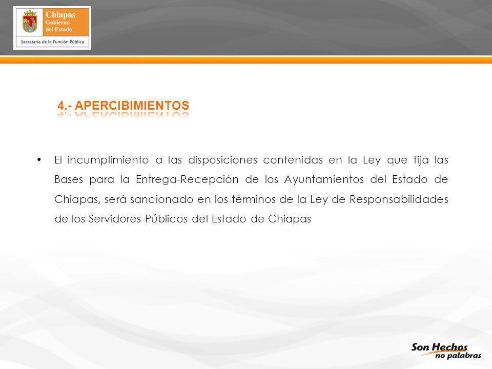 El incumplimiento a las disposiciones contenidas en la Ley que fija las Bases para la Entrega-Recepción de los Ayuntamientos del Estado de Chiapas, se