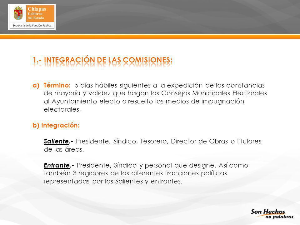 a)Término: 5 días hábiles siguientes a la expedición de las constancias de mayoría y validez que hagan los Consejos Municipales Electorales al Ayuntam