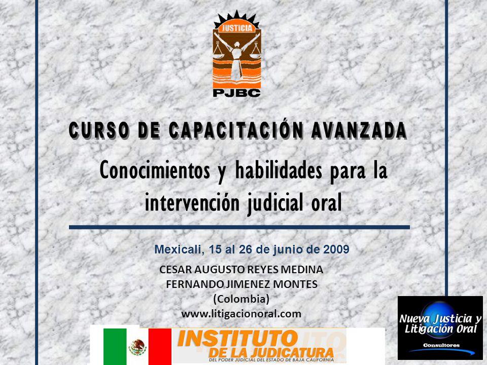 Conocimientos y habilidades para la intervención judicial oral Mexicali, 15 al 26 de junio de 2009 CESAR AUGUSTO REYES MEDINA FERNANDO JIMENEZ MONTES (Colombia) www.litigacionoral.com