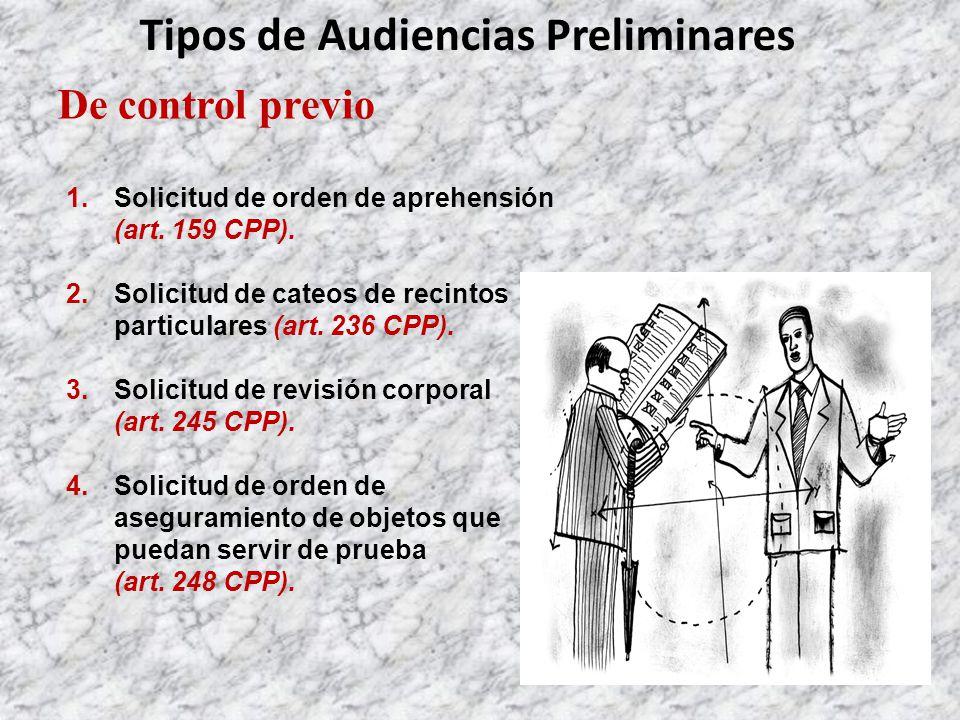 Tipos de Audiencias Preliminares De control previo 1.Solicitud de orden de aprehensión (art.