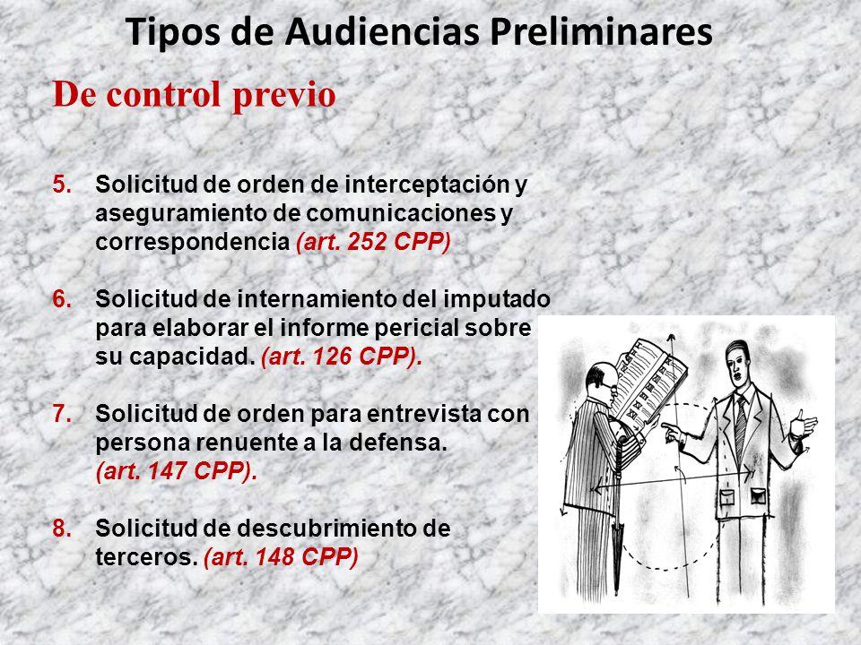 De control previo 5.Solicitud de orden de interceptación y aseguramiento de comunicaciones y correspondencia (art.