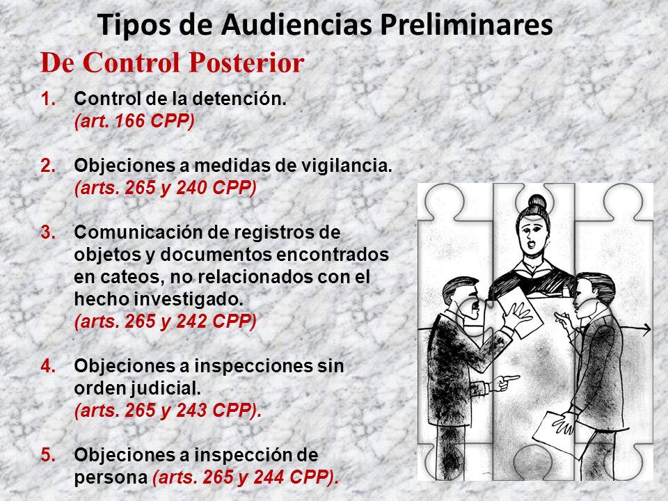 De Control Posterior Tipos de Audiencias Preliminares 1.Control de la detención.