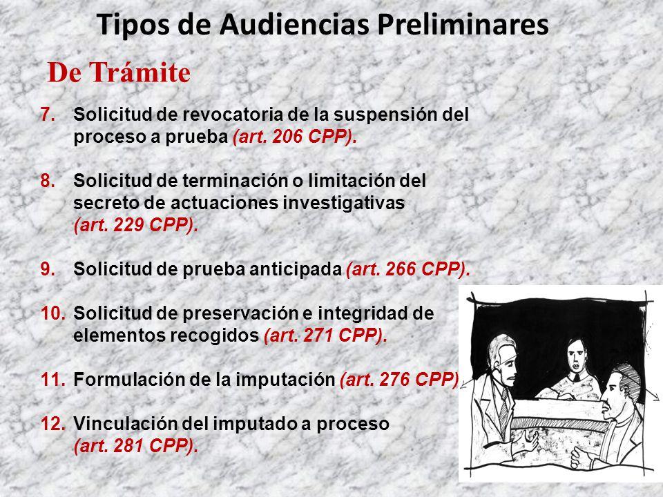 De Trámite Tipos de Audiencias Preliminares 7.Solicitud de revocatoria de la suspensión del proceso a prueba (art.