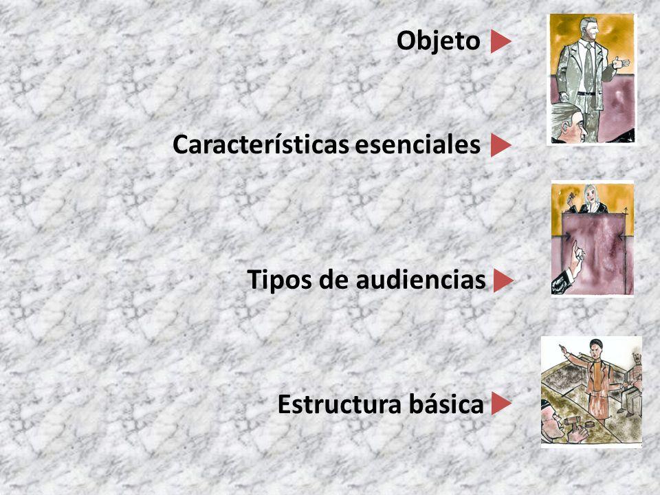 Características esenciales Tipos de audiencias Estructura básica Objeto