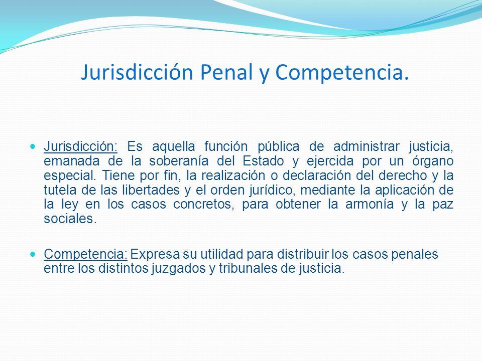 Jurisdicción Penal y Competencia. Jurisdicción: Es aquella función pública de administrar justicia, emanada de la soberanía del Estado y ejercida por