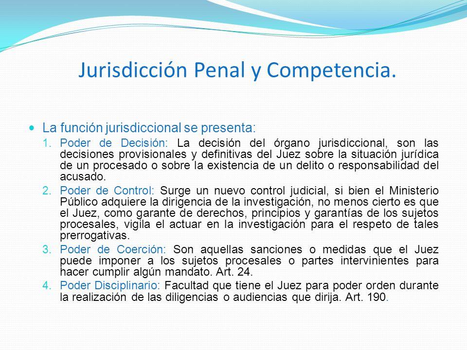 Jurisdicción Penal y Competencia. La función jurisdiccional se presenta: 1. Poder de Decisión: La decisión del órgano jurisdiccional, son las decision