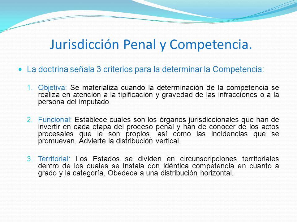 Jurisdicción Penal y Competencia. La doctrina señala 3 criterios para la determinar la Competencia: 1. Objetiva: Se materializa cuando la determinació