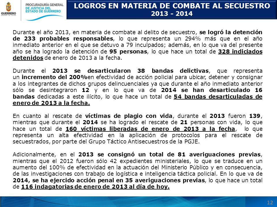 LOGROS EN MATERIA DE COMBATE AL SECUESTRO 2013 - 2014 12 Durante el año 2013, en materia de combate al delito de secuestro, se logró la detención de 2