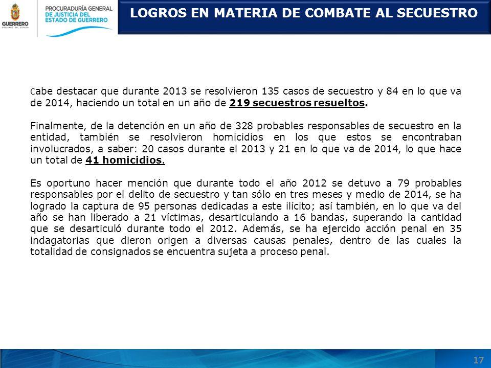 LOGROS EN MATERIA DE COMBATE AL SECUESTRO C abe destacar que durante 2013 se resolvieron 135 casos de secuestro y 84 en lo que va de 2014, haciendo un