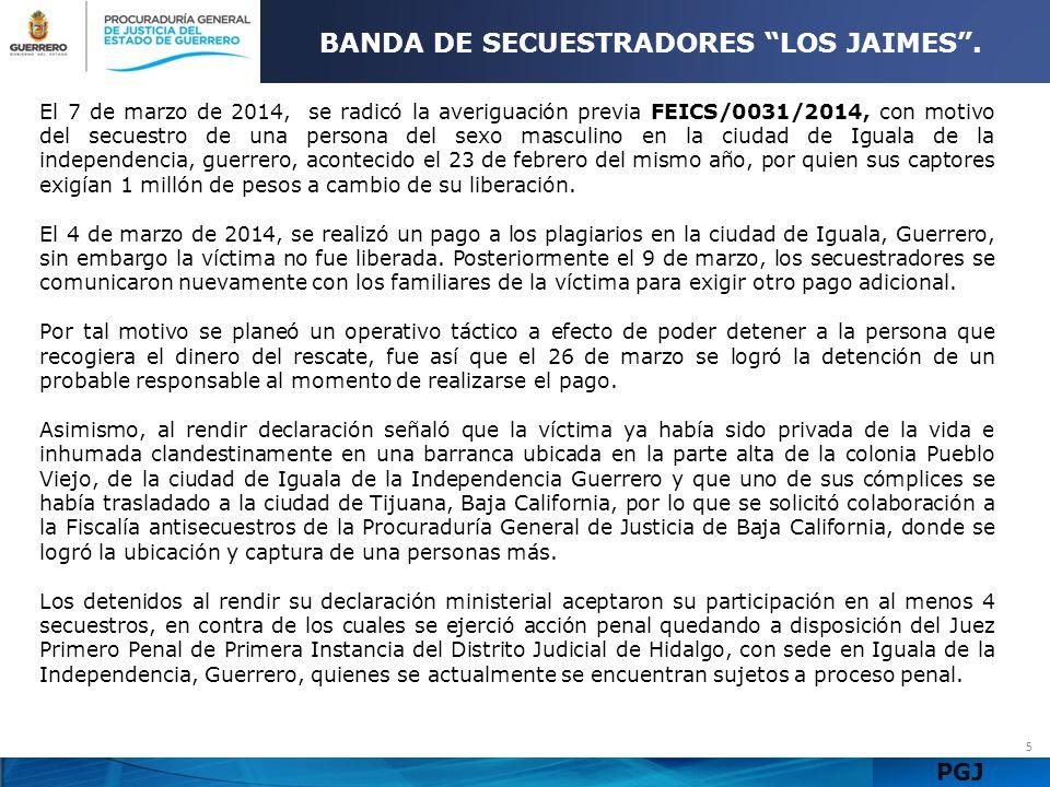 PGJ 6 MARIA JAIMES HERNÁNDEZ CARLOS ANDRES JAIMES HERNÁNDEZ BANDA DE SECUESTRADORES LOS JAIMES.