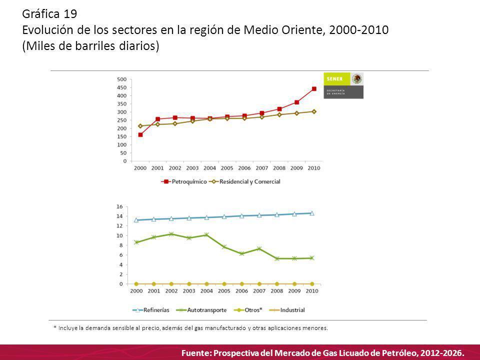 Fuente: Prospectiva del Mercado de Gas Licuado de Petróleo, 2012-2026. Gráfica 19 Evolución de los sectores en la región de Medio Oriente, 2000-2010 (