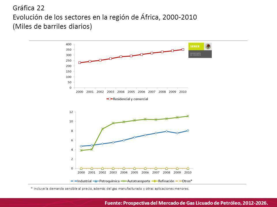 Fuente: Prospectiva del Mercado de Gas Licuado de Petróleo, 2012-2026. Gráfica 22 Evolución de los sectores en la región de África, 2000-2010 (Miles d