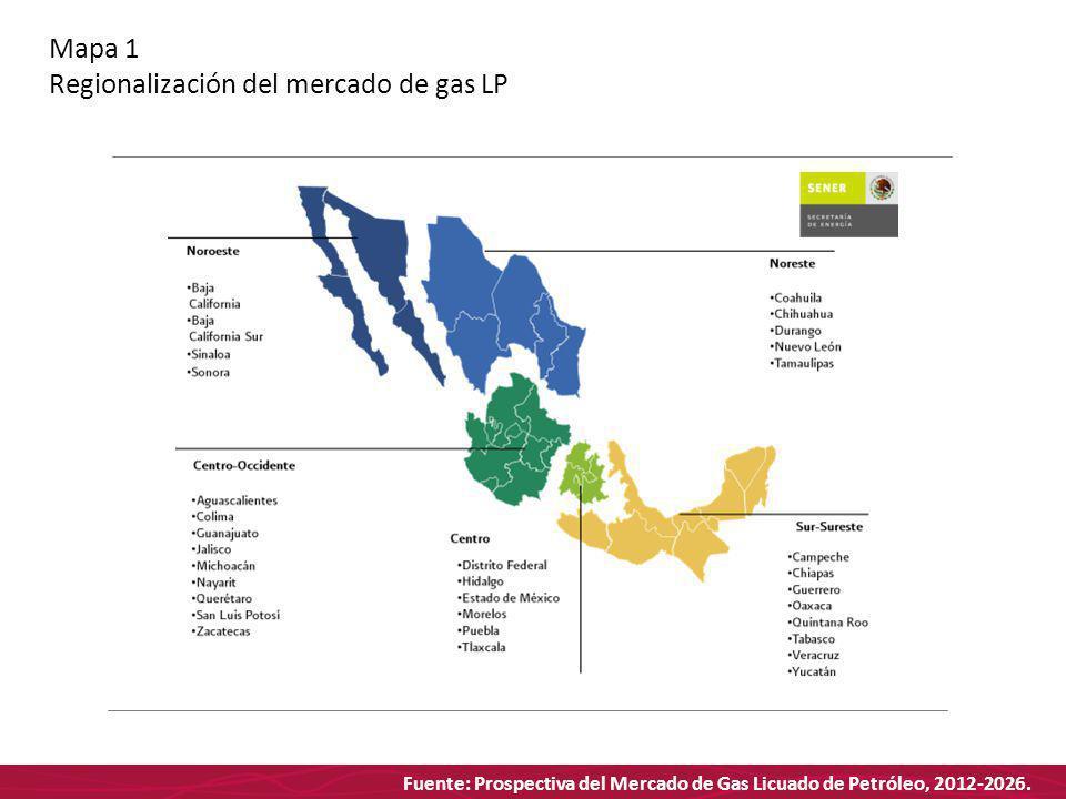 Fuente: Prospectiva del Mercado de Gas Licuado de Petróleo, 2012-2026. Mapa 1 Regionalización del mercado de gas LP