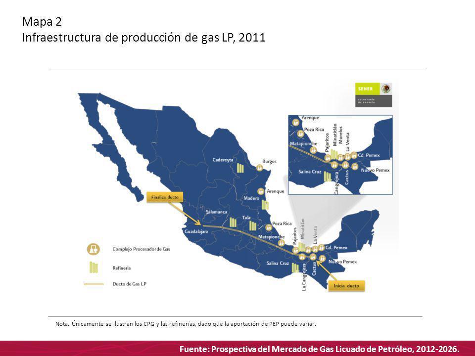 Fuente: Prospectiva del Mercado de Gas Licuado de Petróleo, 2012-2026. Mapa 2 Infraestructura de producción de gas LP, 2011 Nota. Únicamente se ilustr