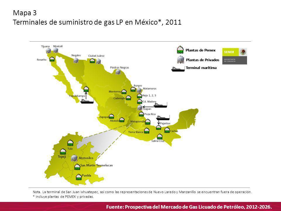 Fuente: Prospectiva del Mercado de Gas Licuado de Petróleo, 2012-2026. Mapa 3 Terminales de suministro de gas LP en México*, 2011 Nota. La terminal de