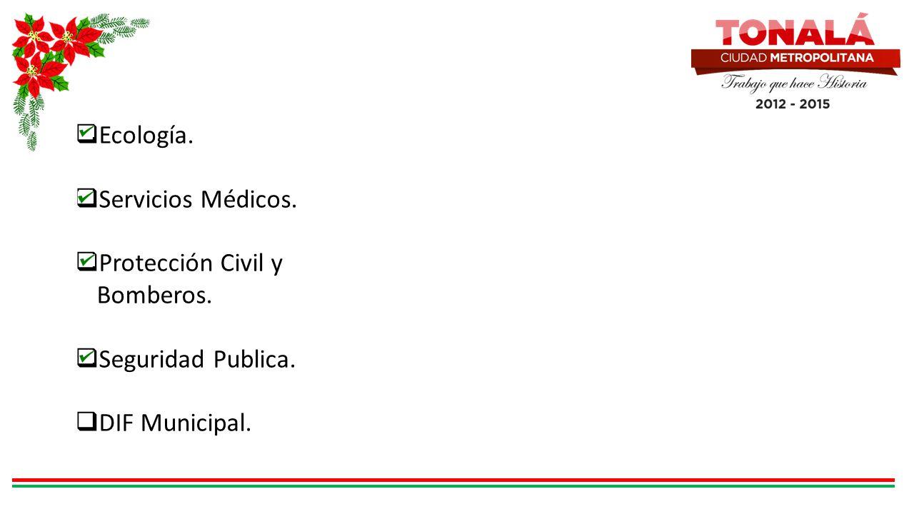 Ecología. Servicios Médicos. Protección Civil y Bomberos. Seguridad Publica. DIF Municipal.