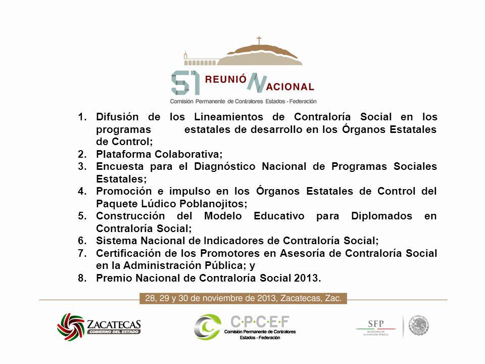 1.Difusión de los Lineamientos de Contraloría Social en los programas estatales de desarrollo en los Órganos Estatales de Control; 2.Plataforma Colabo