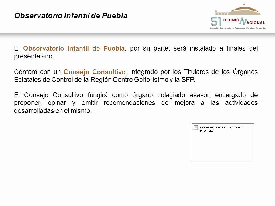 Observatorio Infantil de Puebla El Observatorio Infantil de Puebla, por su parte, será instalado a finales del presente año. Contará con un Consejo Co
