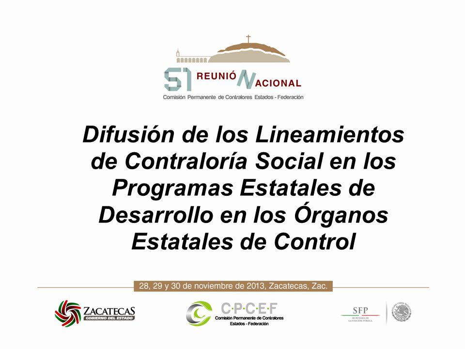 Difusión de los Lineamientos de Contraloría Social en los Programas Estatales de Desarrollo en los Órganos Estatales de Control