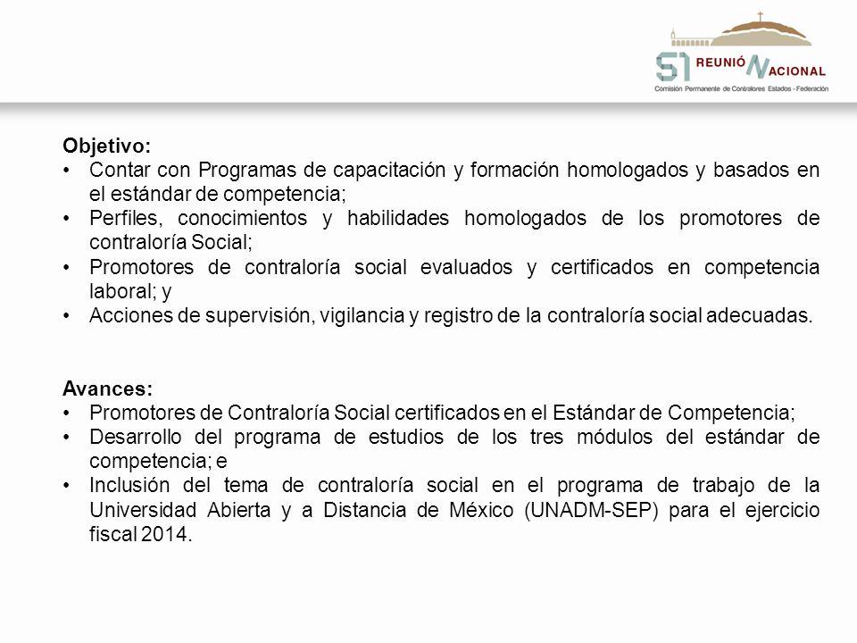 Objetivo: Contar con Programas de capacitación y formación homologados y basados en el estándar de competencia; Perfiles, conocimientos y habilidades
