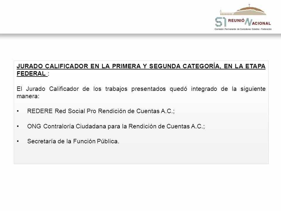 JURADO CALIFICADOR EN LA PRIMERA Y SEGUNDA CATEGORÍA, EN LA ETAPA FEDERAL : El Jurado Calificador de los trabajos presentados quedó integrado de la si